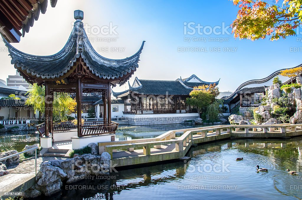 The Dunedin Chinese Garden in New Zealand stock photo