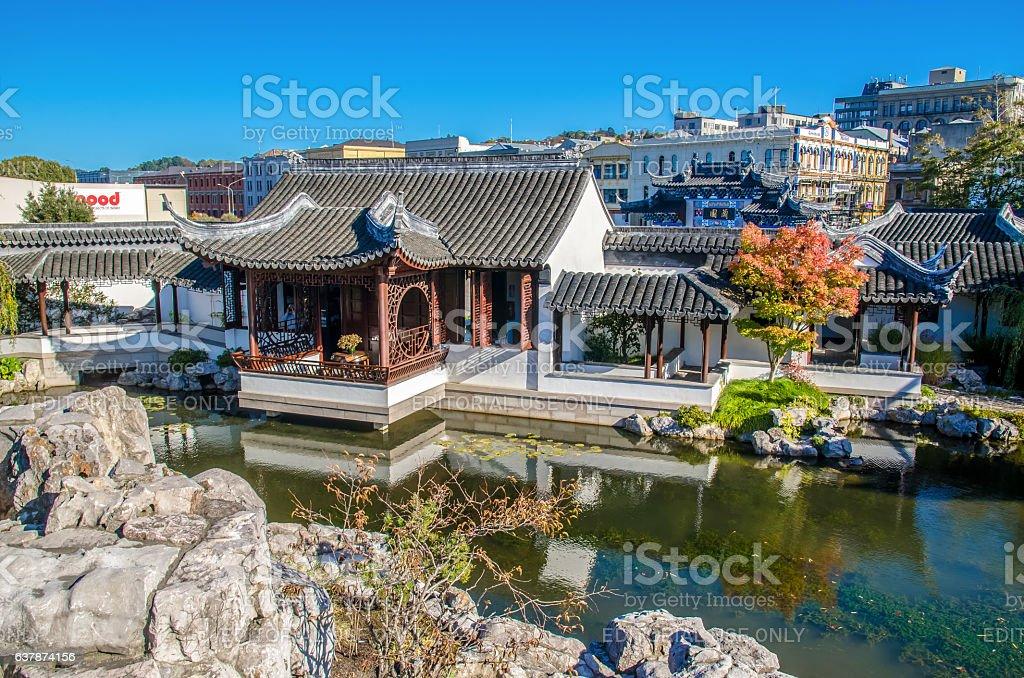 The Dunedin Chinese Garden in New Zealand. stock photo