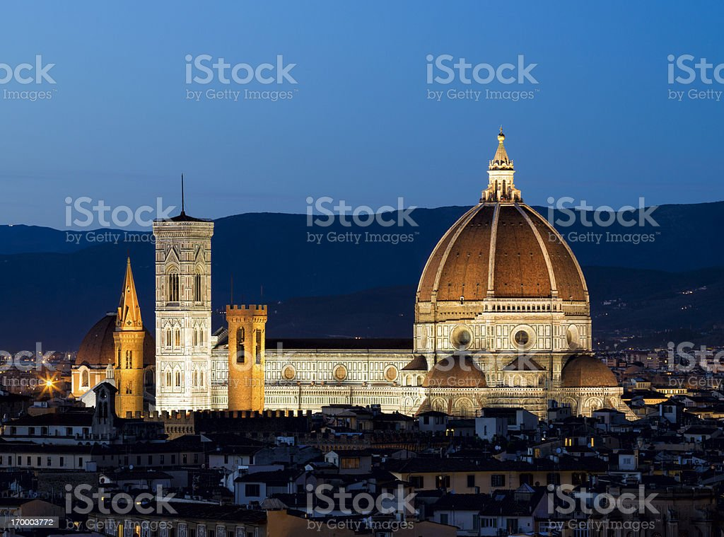 The Duomo and Campanile by night, Florence Tuscany Italy royalty-free stock photo