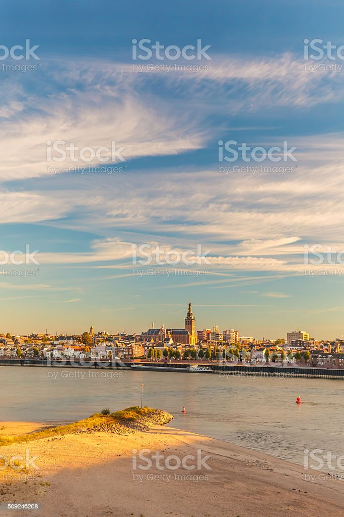 The Dutch city of Nijmegen with the river Waal stock photo