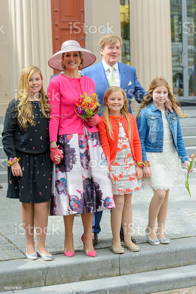 The Dutch Royal Family during Kingsday in Zwolle stock photo