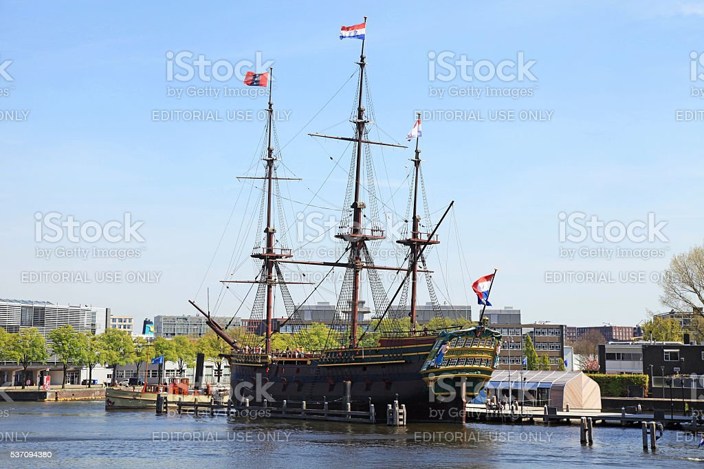 The Dutch sailing cargo ship of 17 century, Amsterdam, Netherlands stock photo