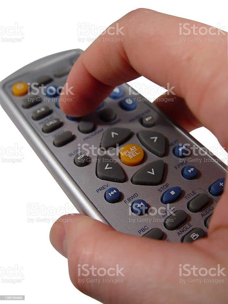 The DVD remote control stock photo