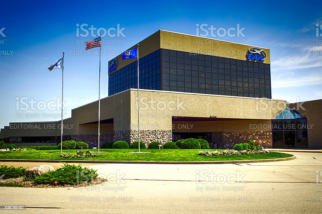 The EAA AirVenture Museum building at Oshkosh Wisconsin stock photo
