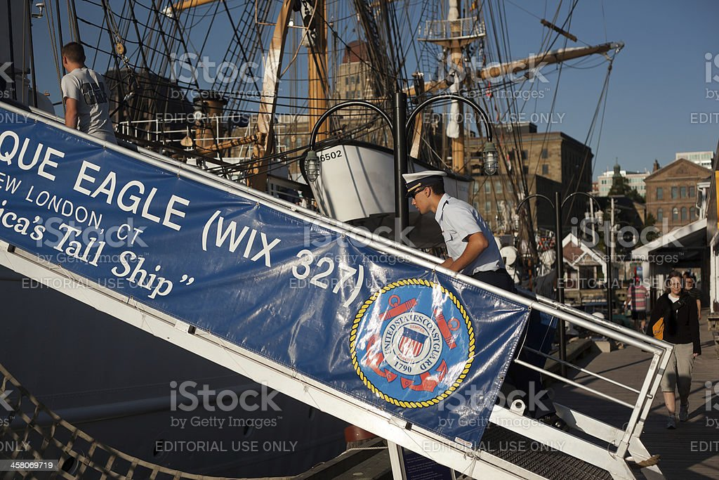 The Eagle Crew Members Boarding Ship stock photo