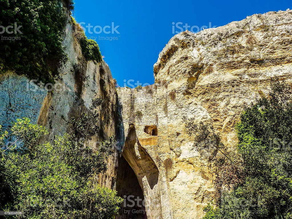 The Ear of Dionysius, ancient Syracuse on Sicily, Italy. stock photo