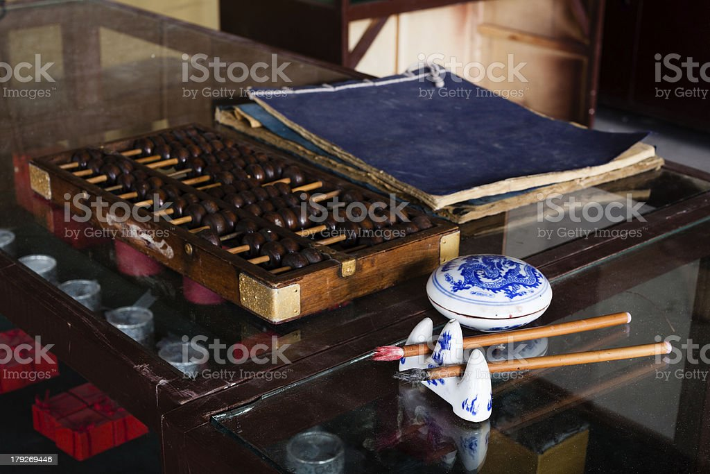 The early Chinese shop accounting tools. stock photo