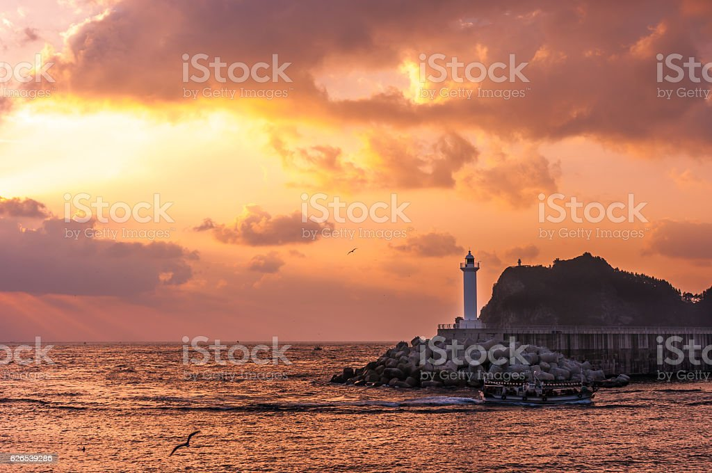 The early morning sunrise view of Jedong port. stock photo