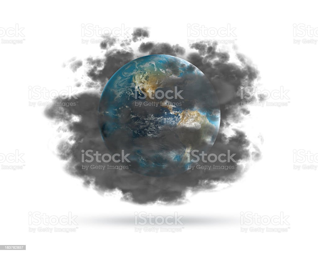 The earth hidden behind a cloud of pollution stock photo