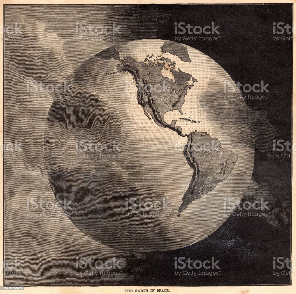 The earth in space map 1886 stock photo