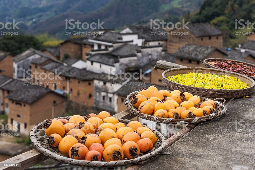 The Earthen Building Scene of Anhui Province in China stock photo