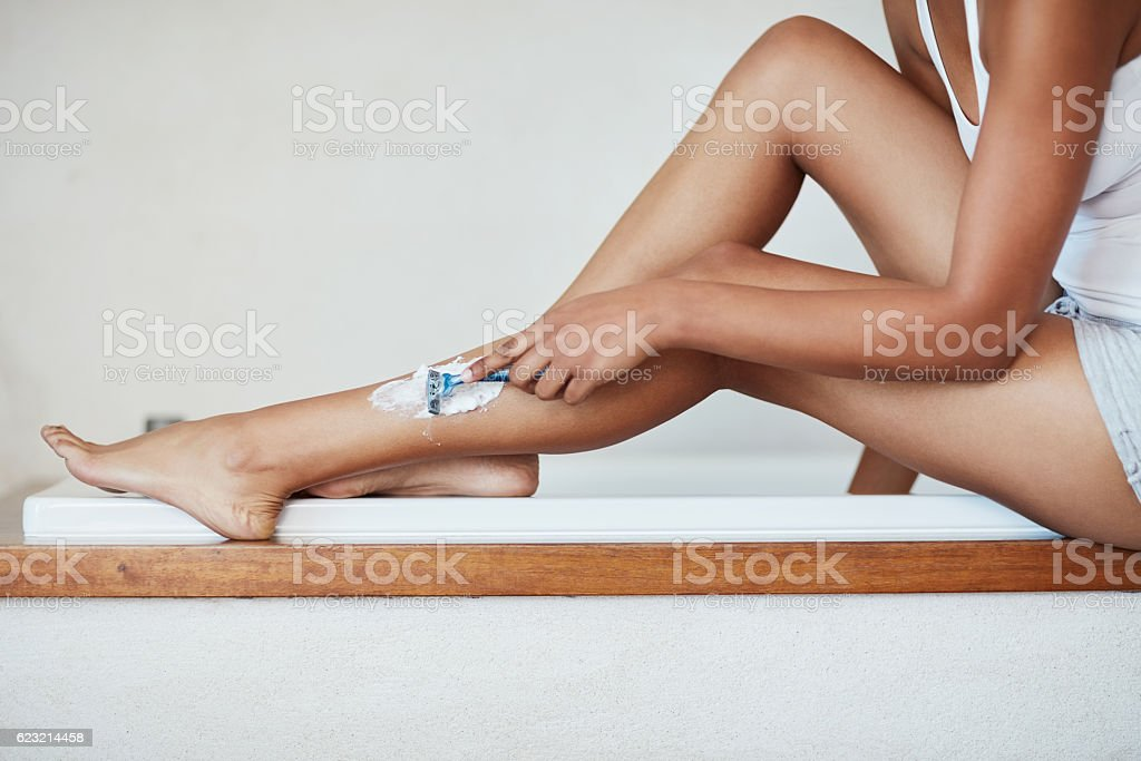 The easiest way to super smooth legs stock photo