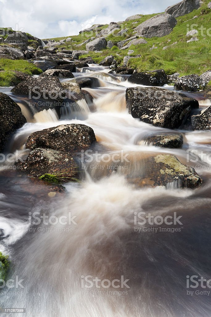 The East Dart river in spate on Dartmoor stock photo
