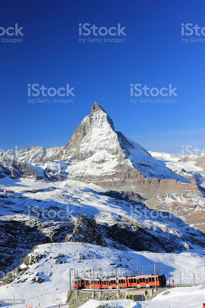 The East Face of the Matterhorn. The Alps, Switzerland. stock photo