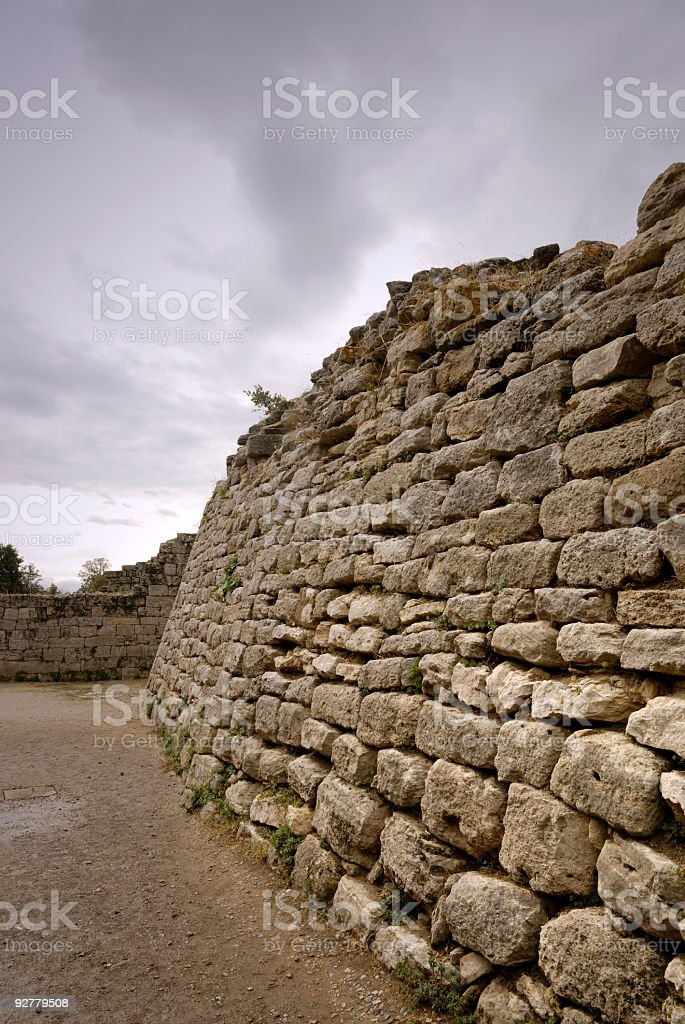 The East Wall Of Troy, Canakkale, Turkey stock photo