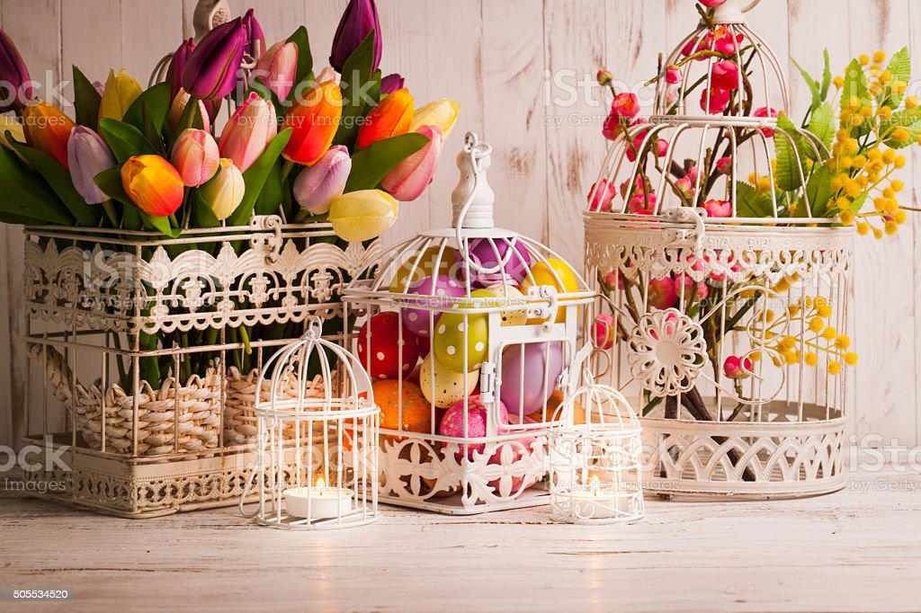 The Easter birdcage stock photo