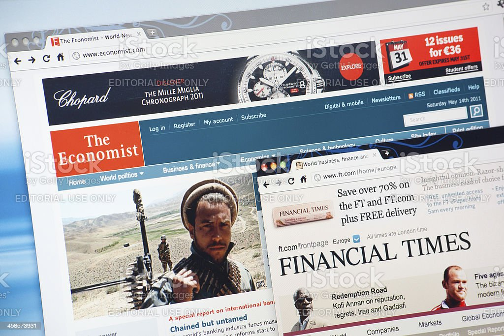The Economist and Financial Times Web Sites stock photo