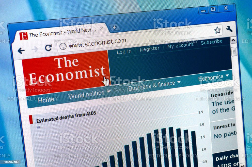 The Economist webpage on browser stock photo
