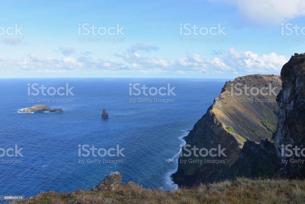 The edge of Rano Kao, Easter Island stock photo