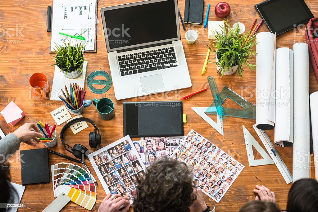 The editor at work choosing the right image stock photo