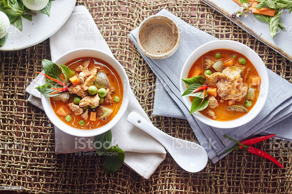 The eggplant curry pork with spicy Thai food. stock photo