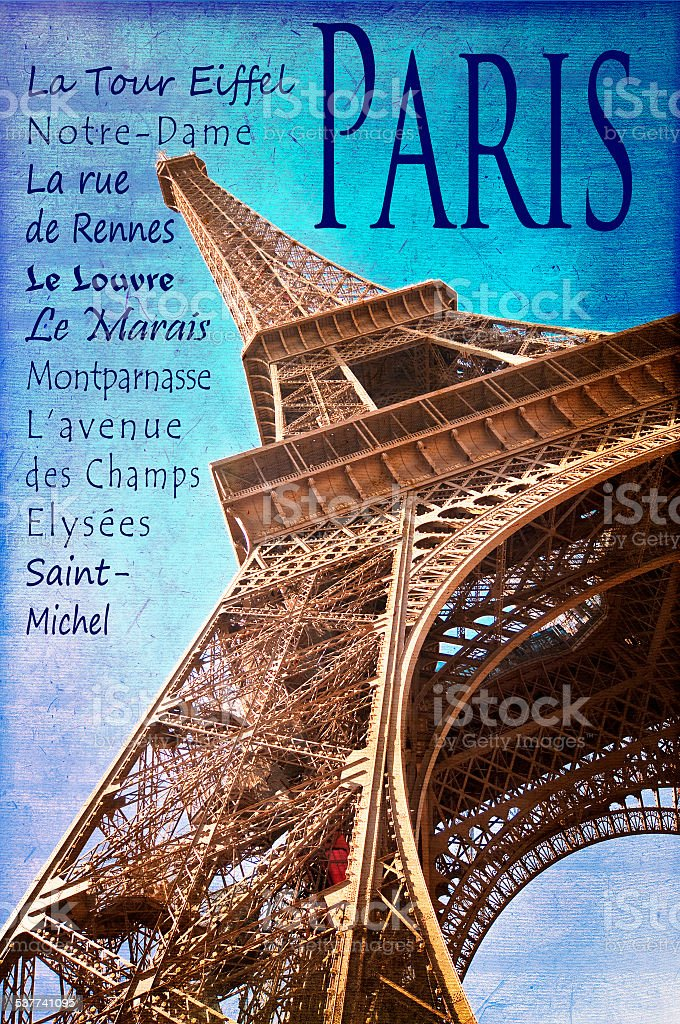 The Eiffel tower and famous places of Paris stock photo