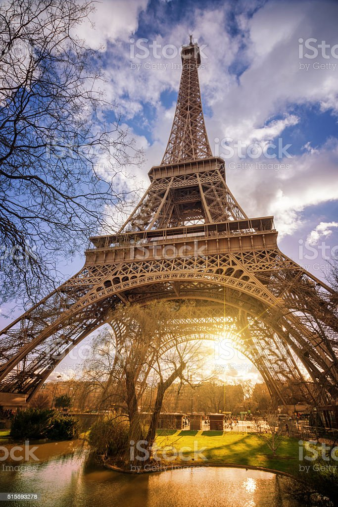 The Eiffel tower at sunset, Paris France stock photo