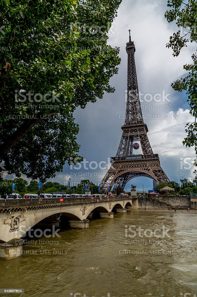 The Eiffel Tower during Euro 2016 stock photo