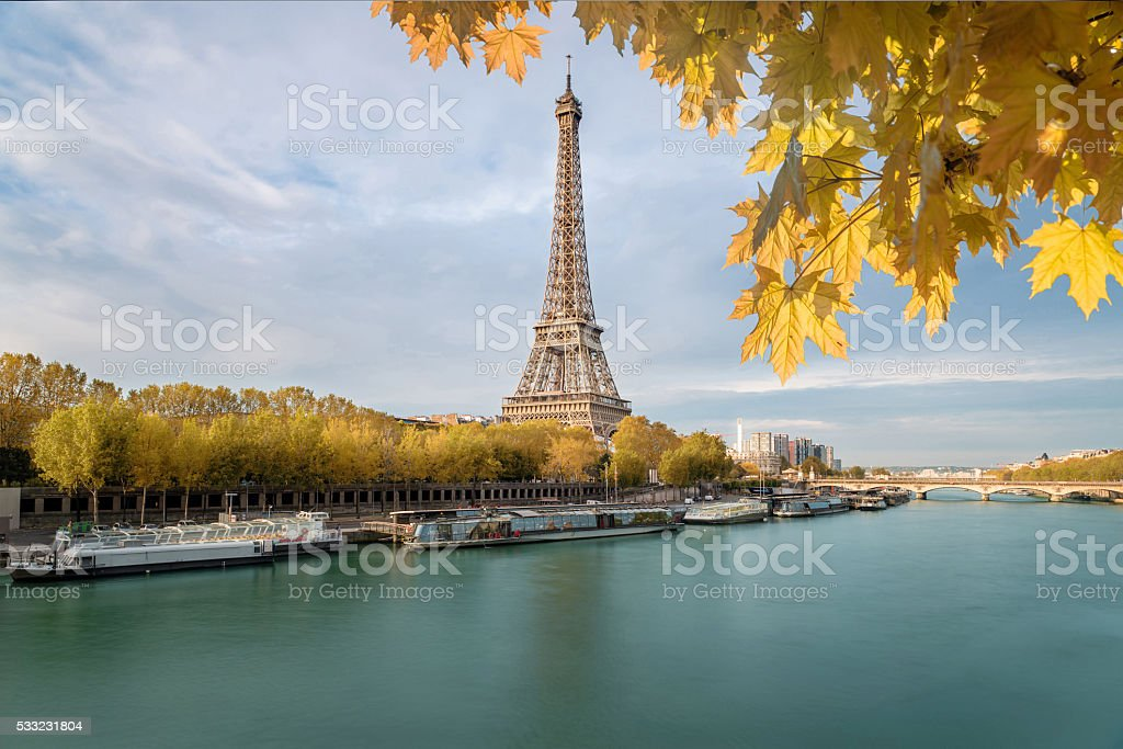 The Eiffel tower from  river Seine in Paris, France stock photo