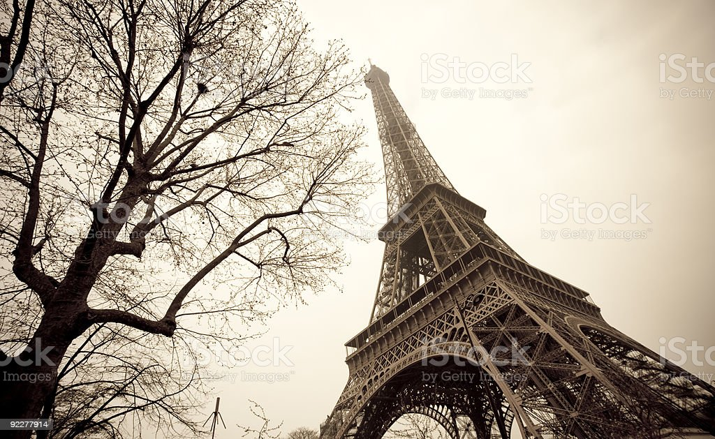 The Eiffel Tower in France shot from below  royalty-free stock photo