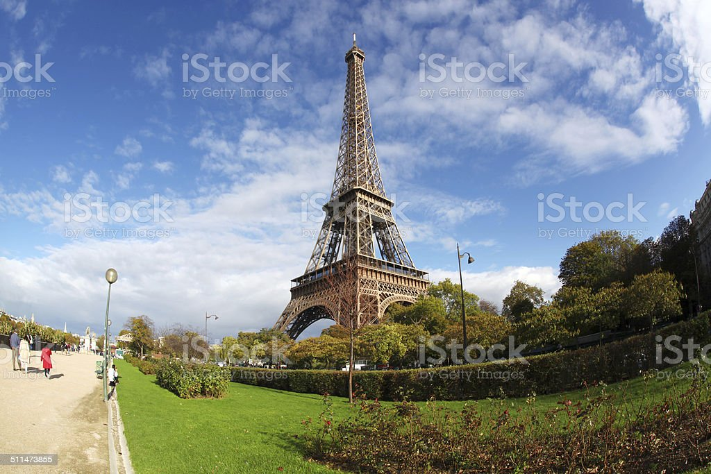 The Eiffel Tower in Paris with city park,  France stock photo