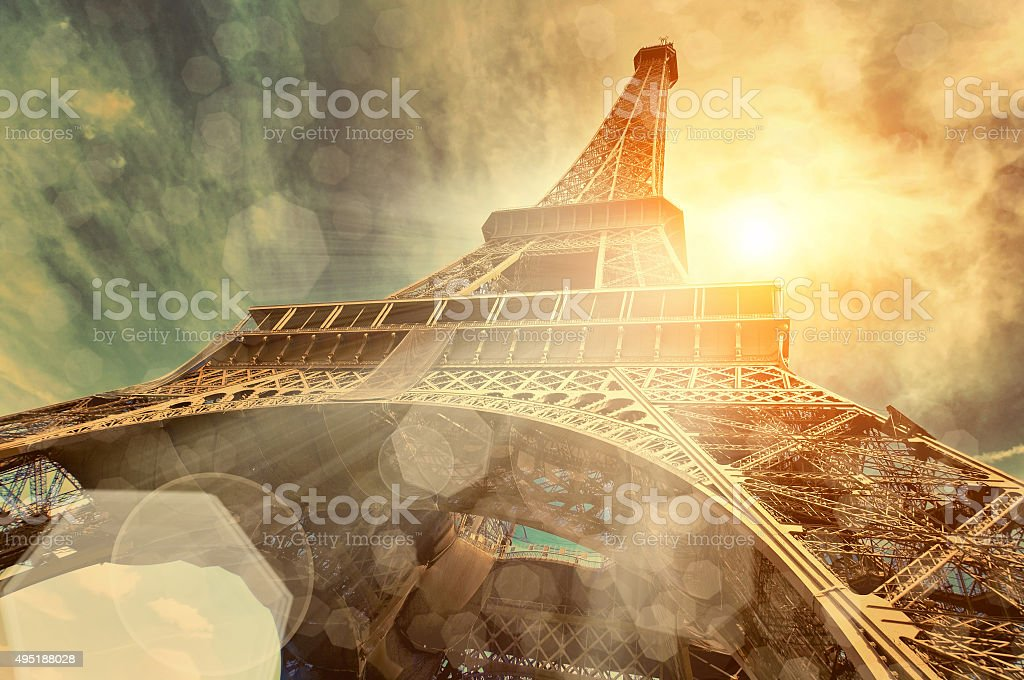 The Eiffel tower, landmarks in the world under sun light stock photo