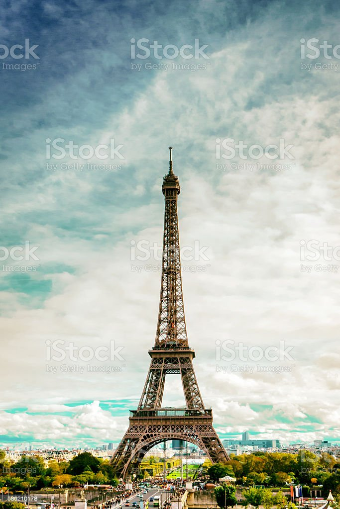 The Eiffel Tower (Le Tour Eifel) on cloudy day stock photo