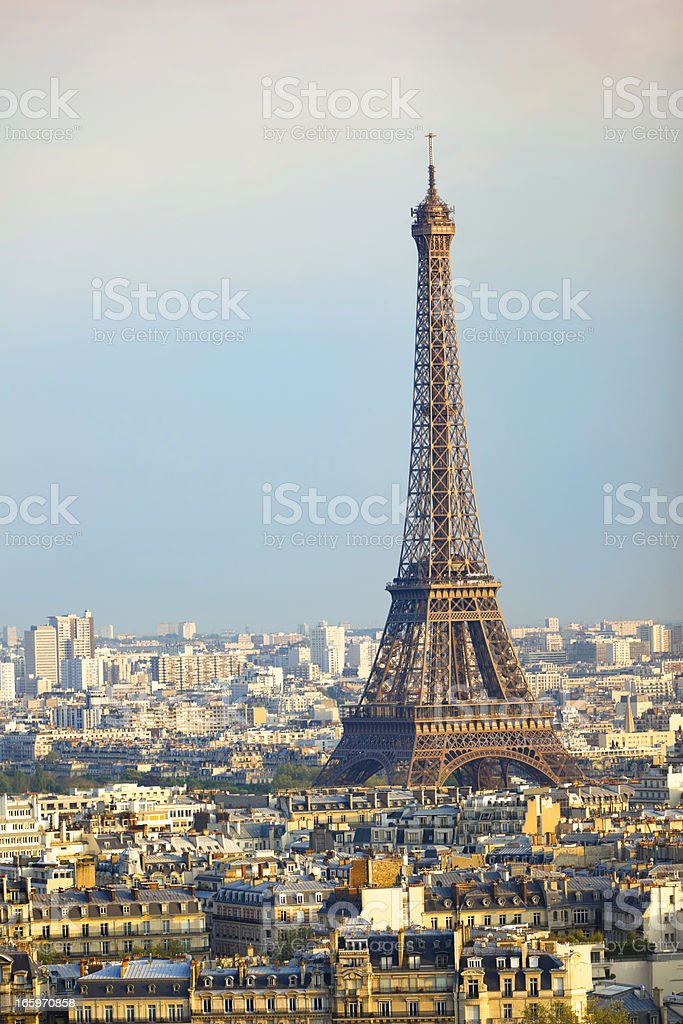 The Eiffel Tower - Paris at late afternoon stock photo