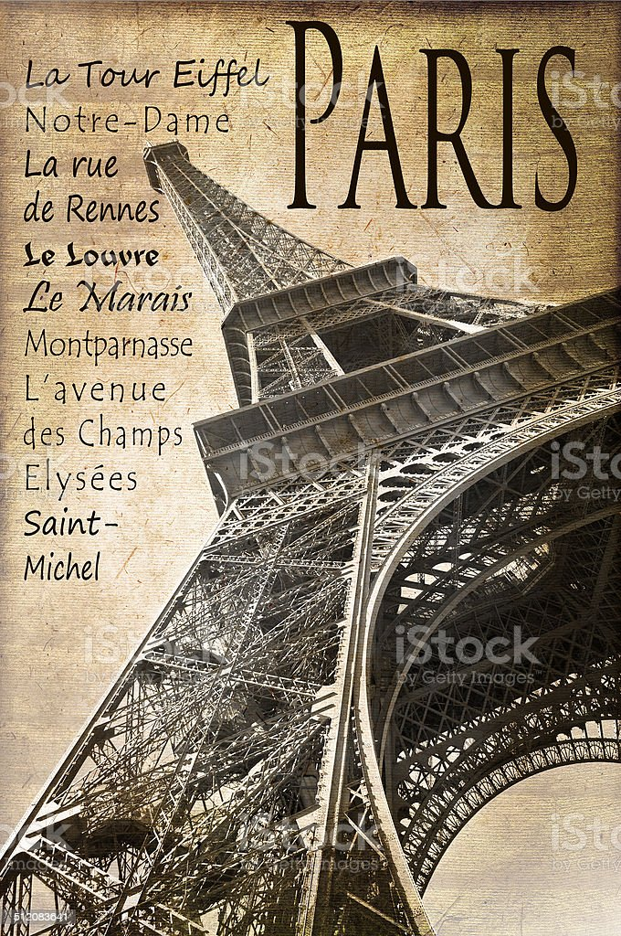 The Eiffel tower, Paris, vintage postcard style stock photo