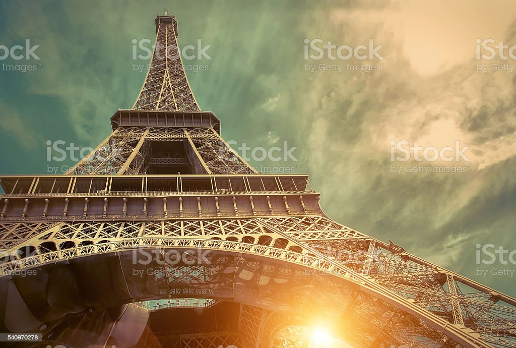 The Eiffel tower Tower in Paris, France, a trip to Europe stock photo