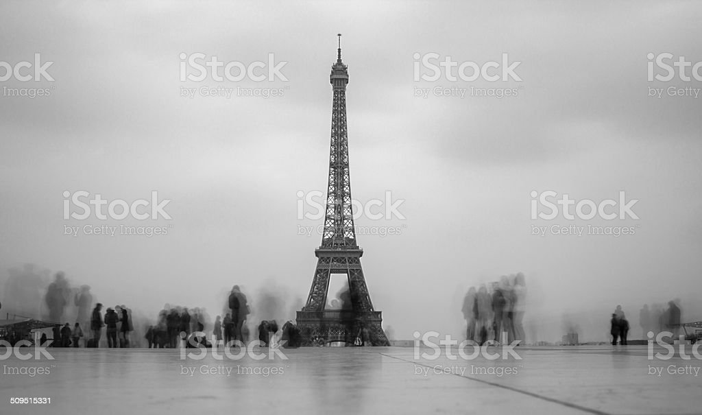 The Eiffel Travelers stock photo