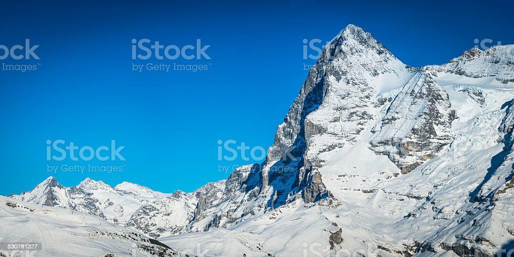 The Eiger North Face 3970m iconic mountain peaks Alps Switzerland stock photo