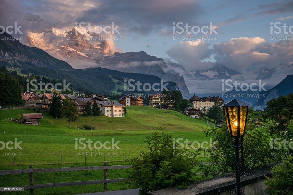 The Eiger over Wengen in Switzerland stock photo