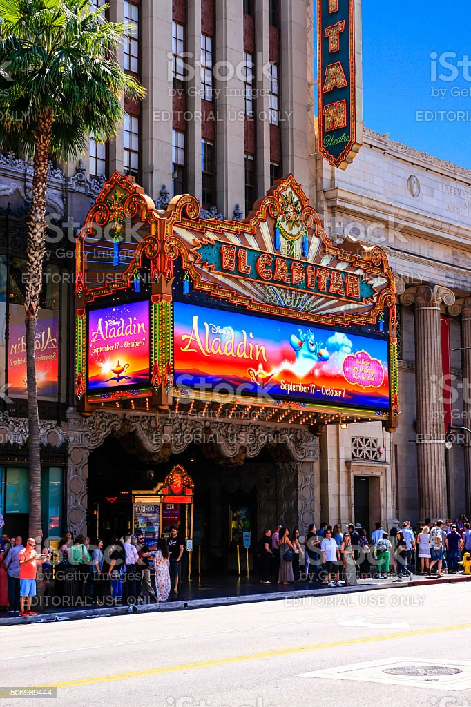 The El Capitan Theater on Hollywood Blvd in Hollywood CA stock photo