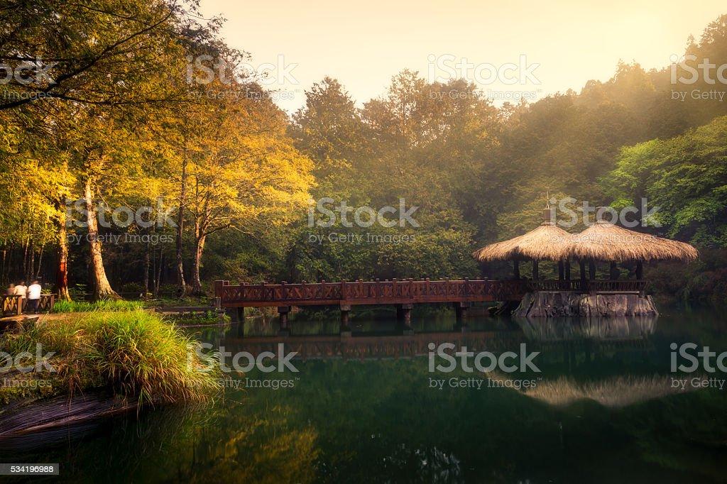 The elder Sister pond in Alishan stock photo