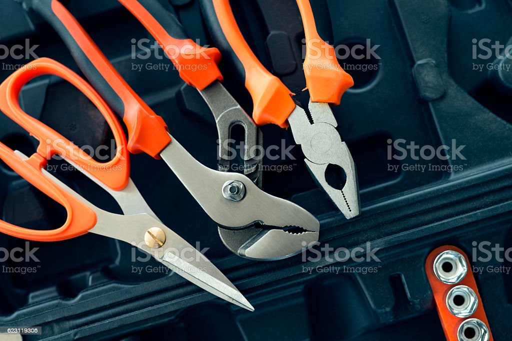 The electrician toolkit stock photo