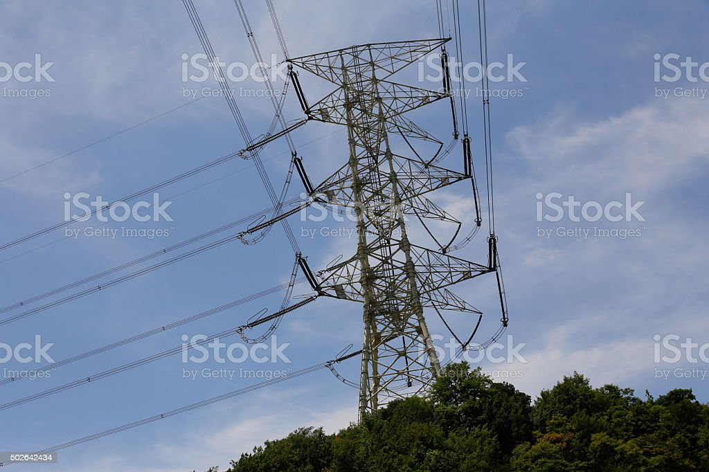 The electricity and communiction network wire on blus sky stock photo