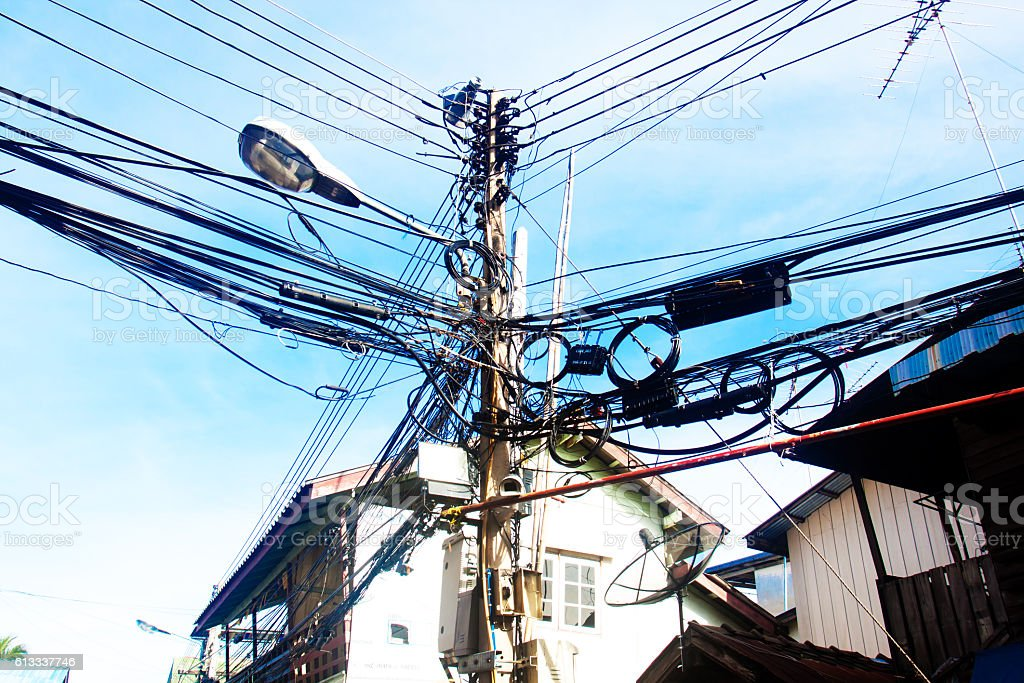 The electricity pole with the electric line with the sky stock photo