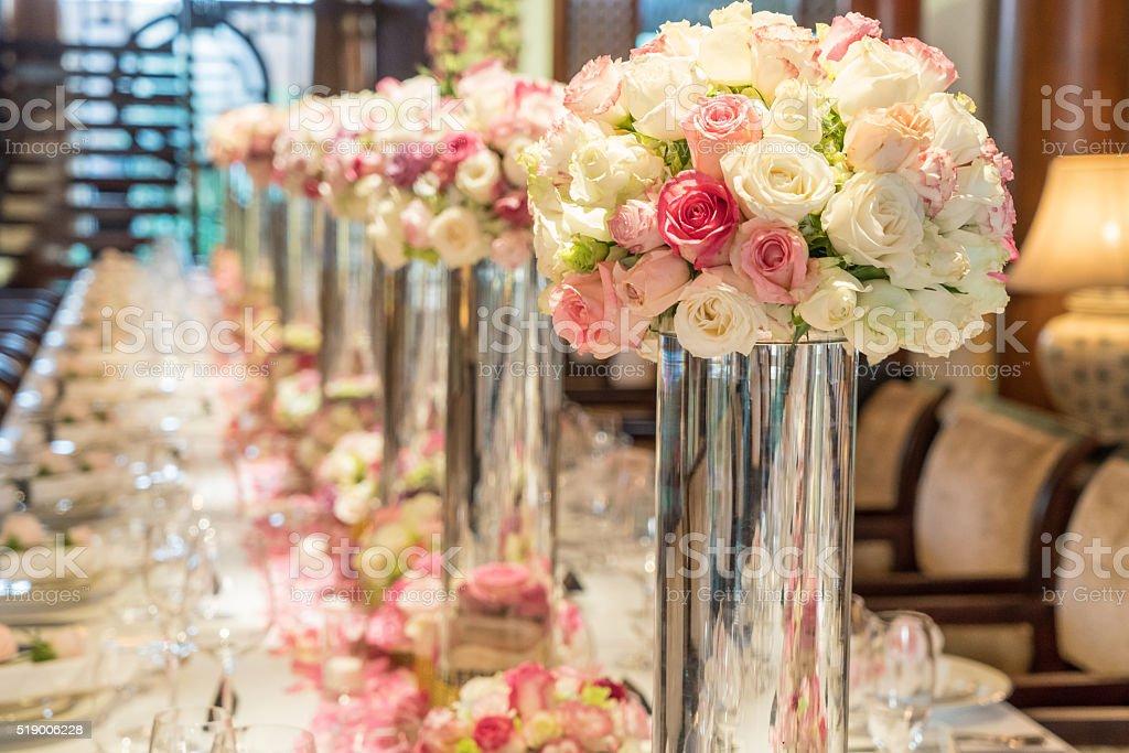 The elegant dinner table. stock photo