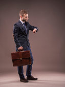 The elegant man in a suit with a briefcase