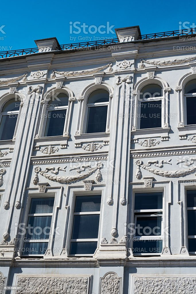 The elements of decoration on the facade of a building stock photo