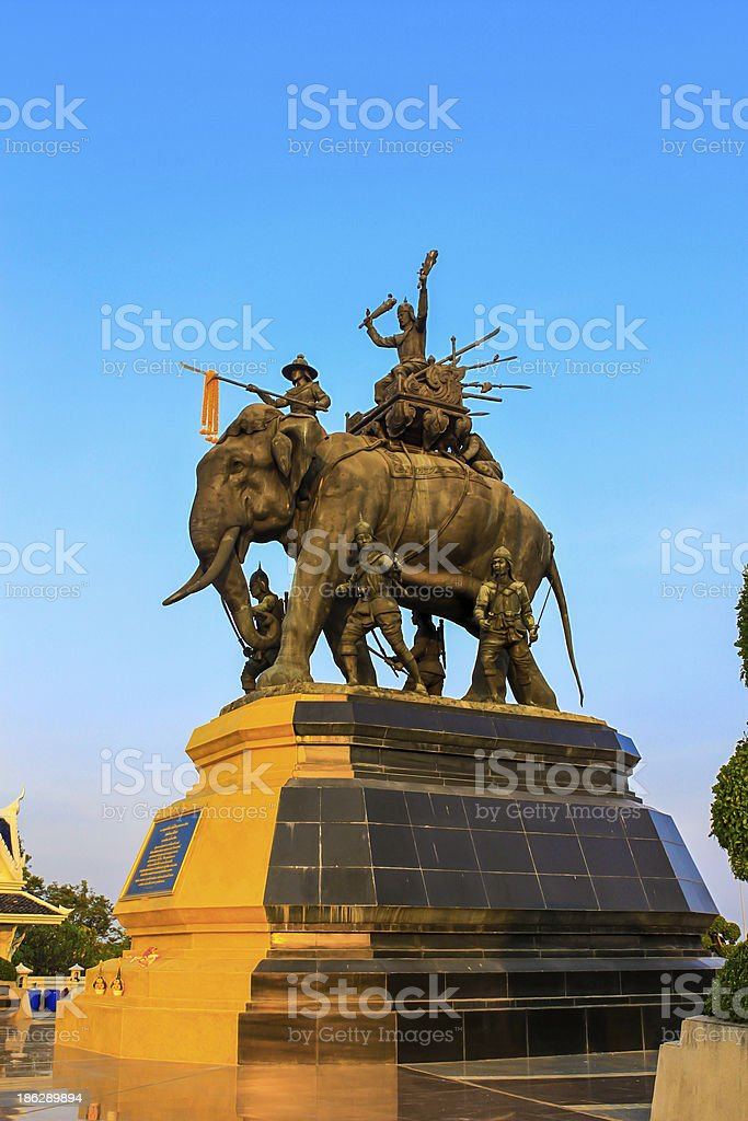 The elephant statue,Monument of King Thailand stock photo