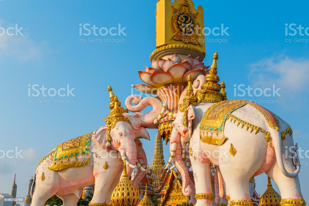 The Elephants Statues in front of Wat Phrakew Temple and the Grand Palace of Thailand in Bangkok stock photo