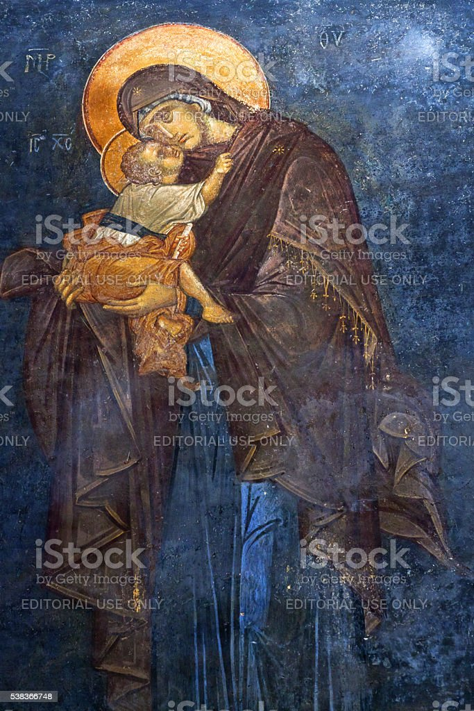 The Eleusa - blessed Virgin Mary and Child stock photo